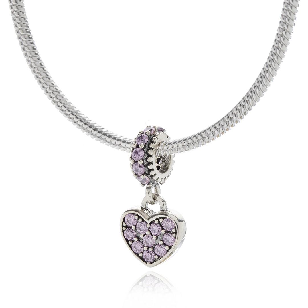 Berloque Pendente Coração Rosa em Prata 925