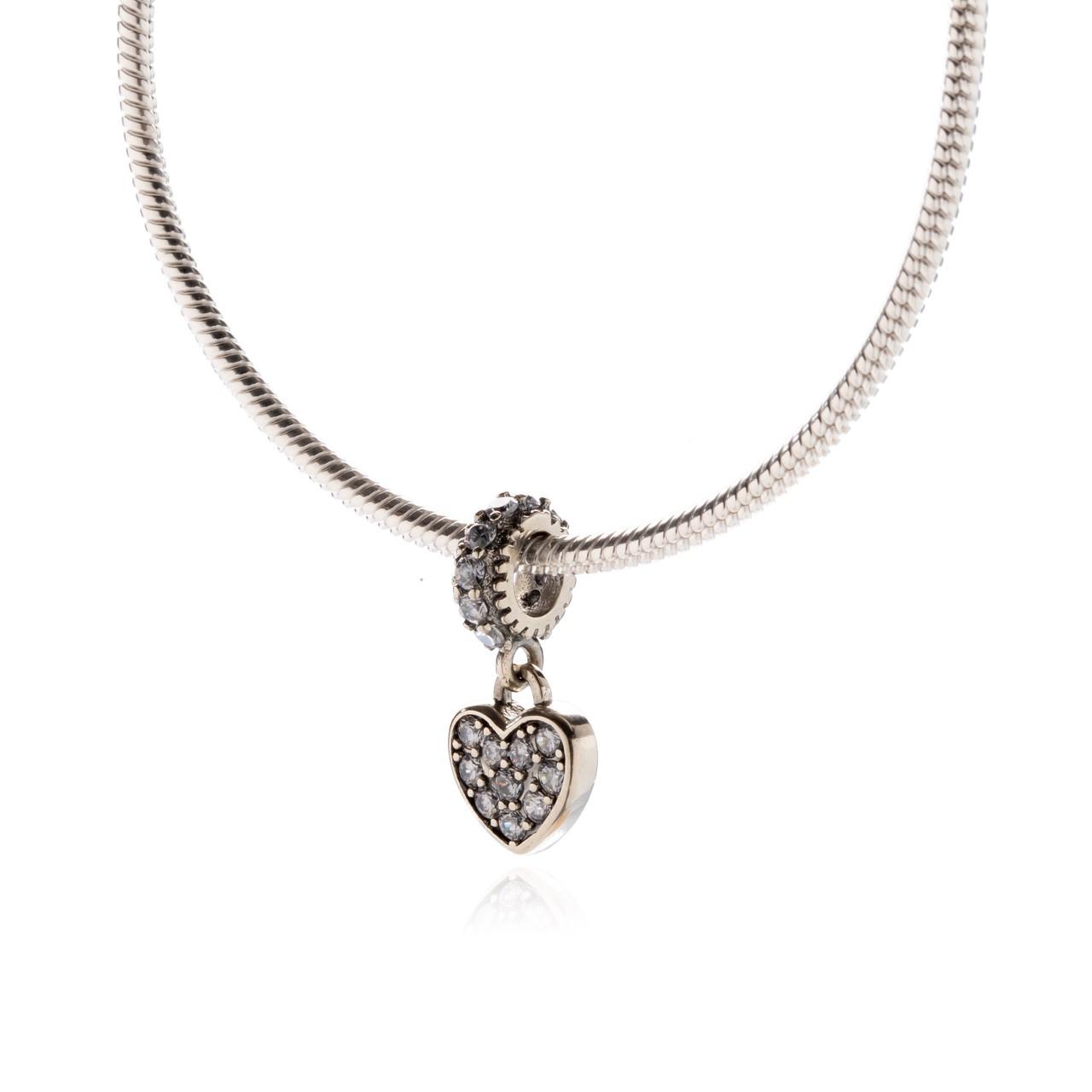 Berloque Pingente de Coração Zircônias Cristal Prata 925