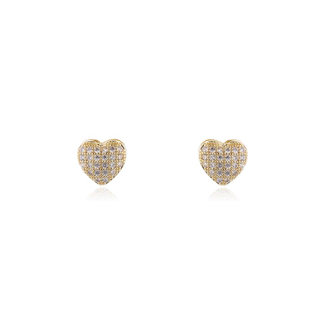 Brinco Coração com Zircônias 0,8 cm