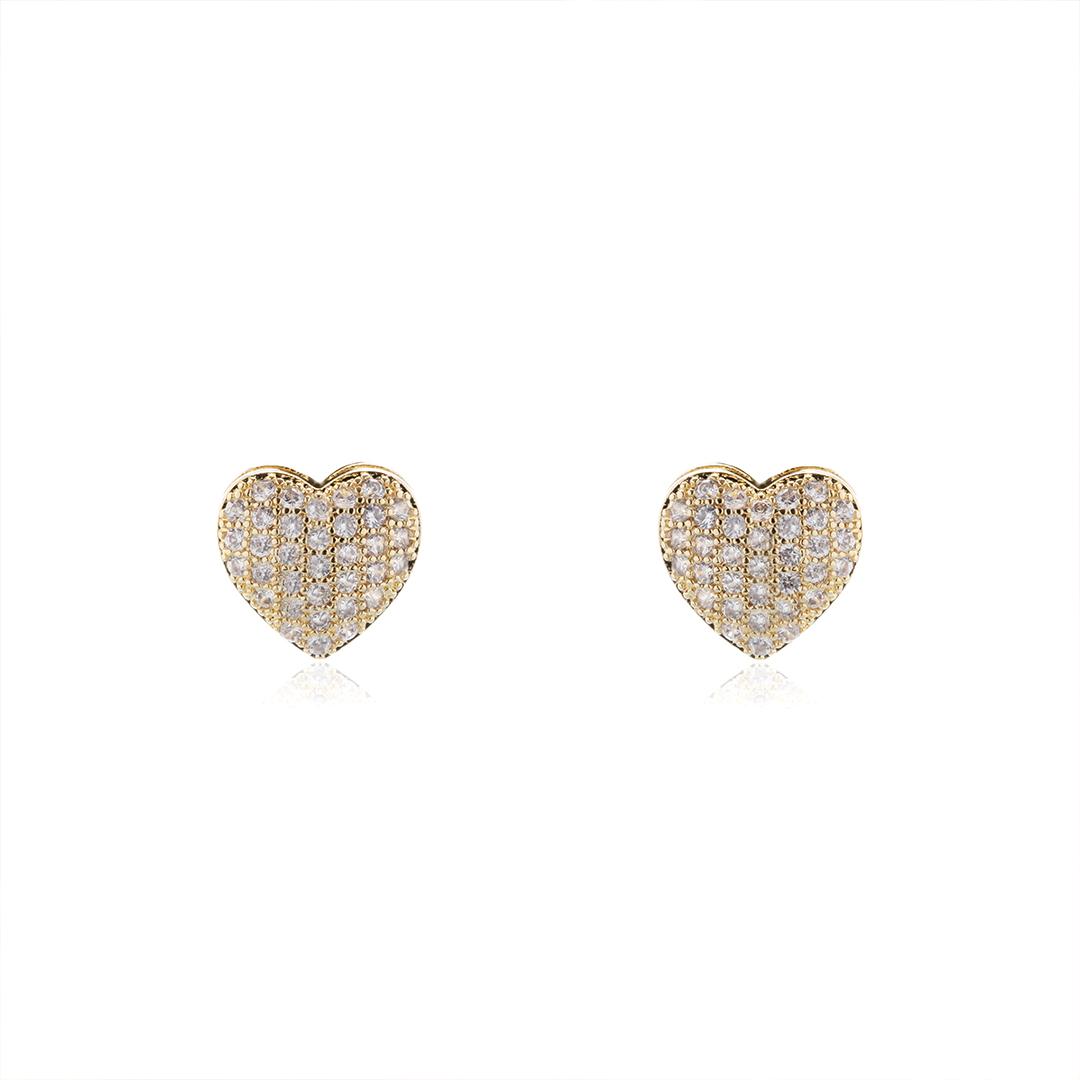 Brinco Coração com Zircônias 1,2 cm