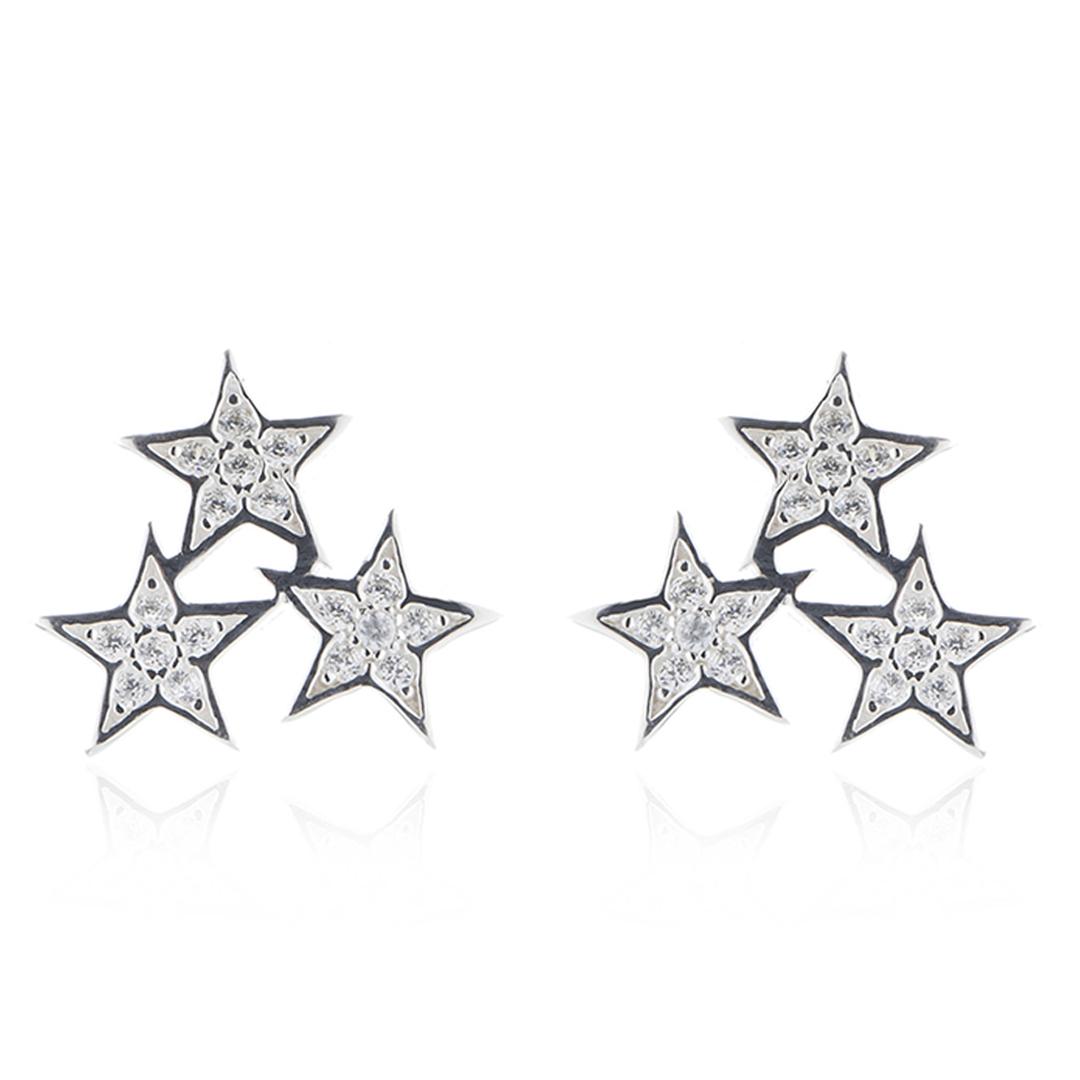 Brinco Prata 925 De Estrelas Cravejadas Com Zircônias
