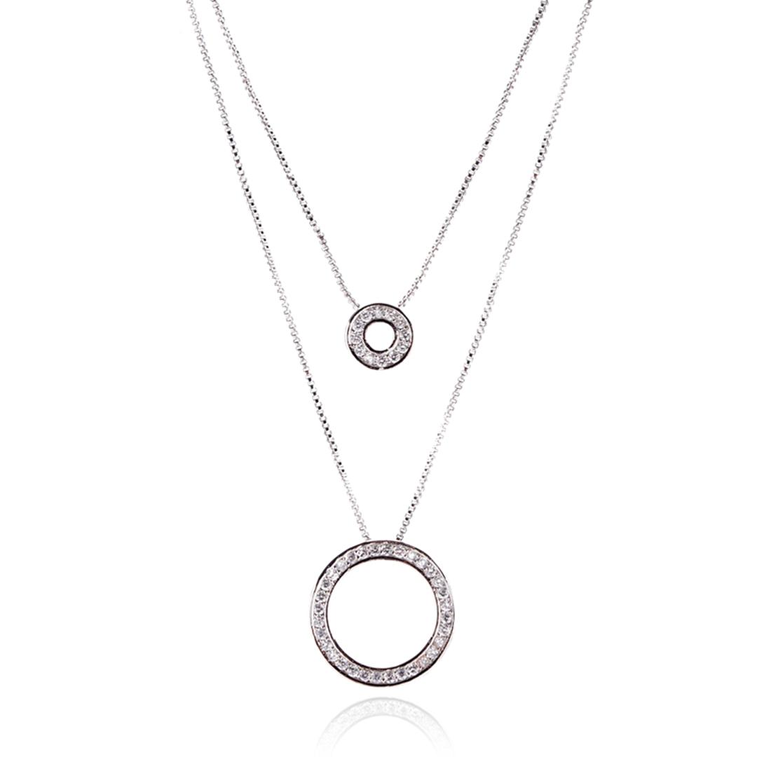 Colar Duplo com Pingentes de Círculos e Zircônias 45 cm + Extensor