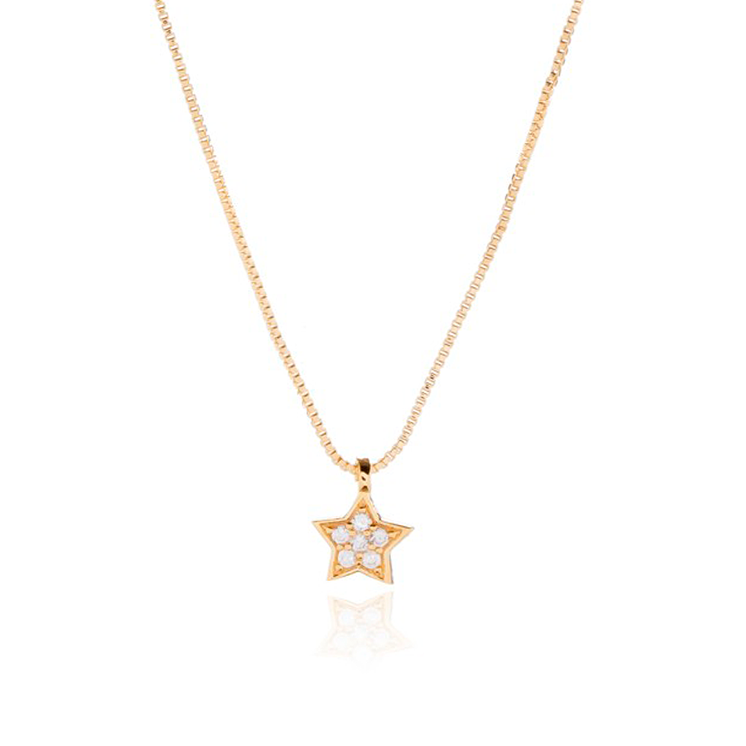 Colar Estrela com Zircônias 40cm + Extensor