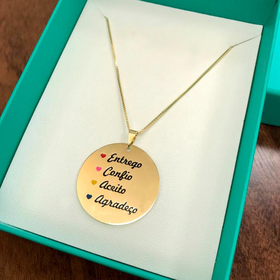 Colar Ho'Oponopono Medalha 3cm