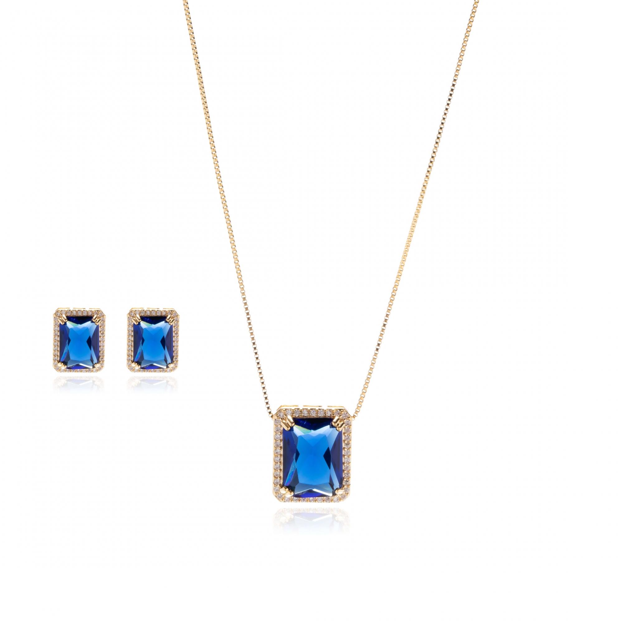 Conjunto Pedra Azul com Zircônias