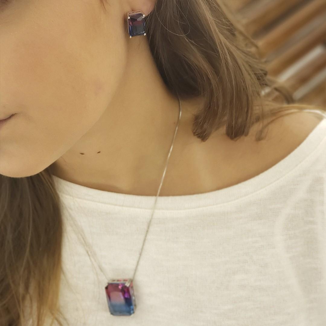 Conjunto Pedra Rubi e Azul 40 cm + Extensor