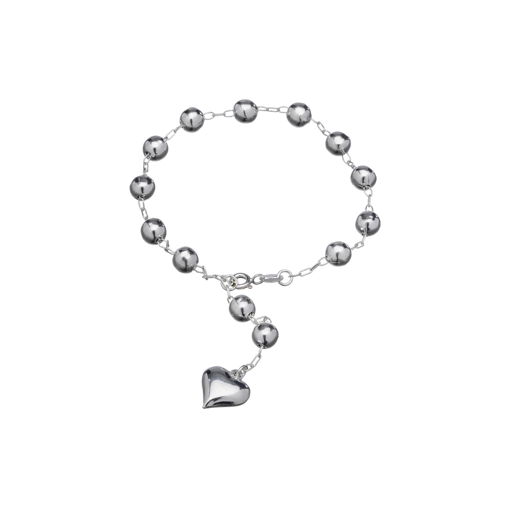 Pulseira Bolinhas e Coração em Prata 925 16cm + Extensor