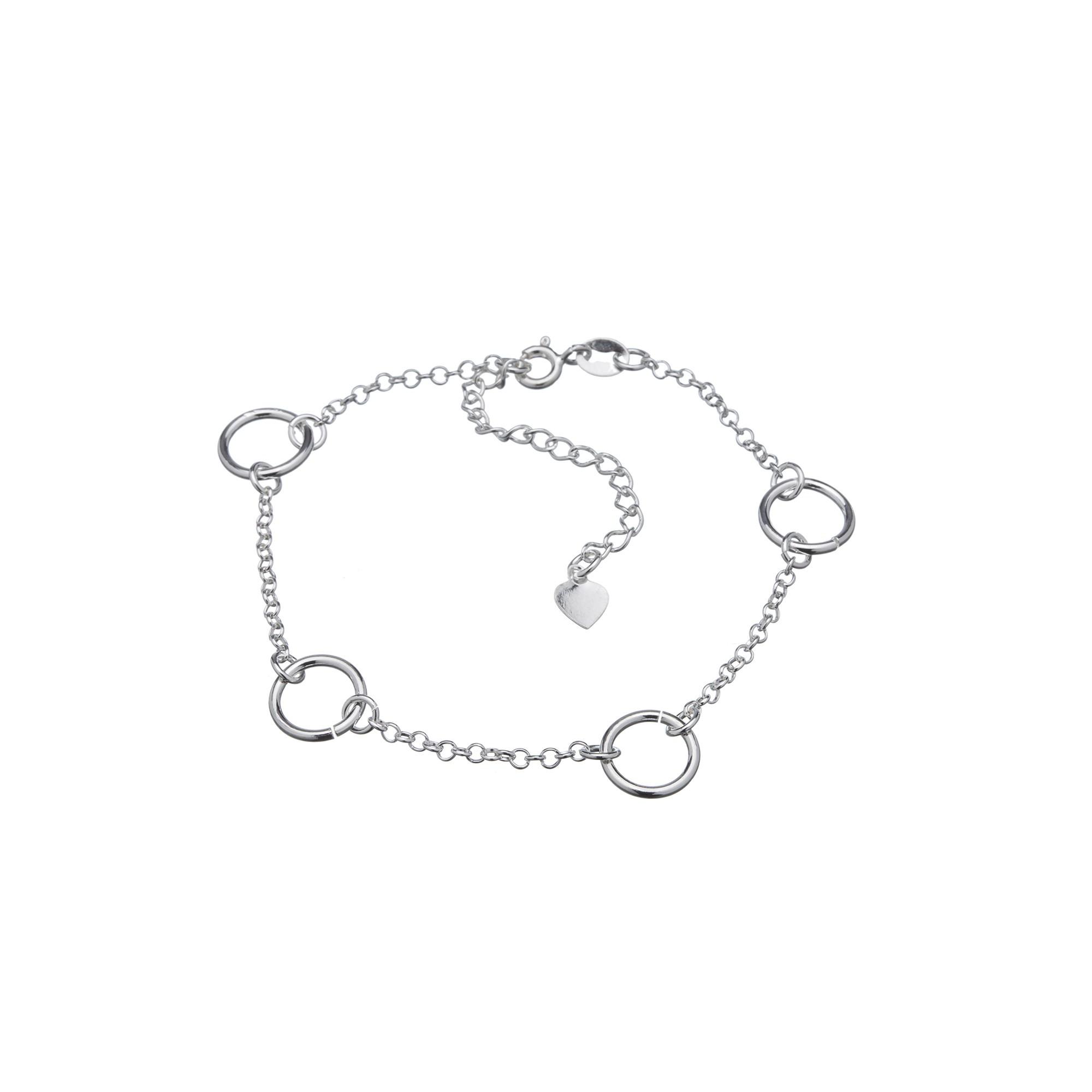 Pulseira Círculos em Prata 925 16cm + Extensor