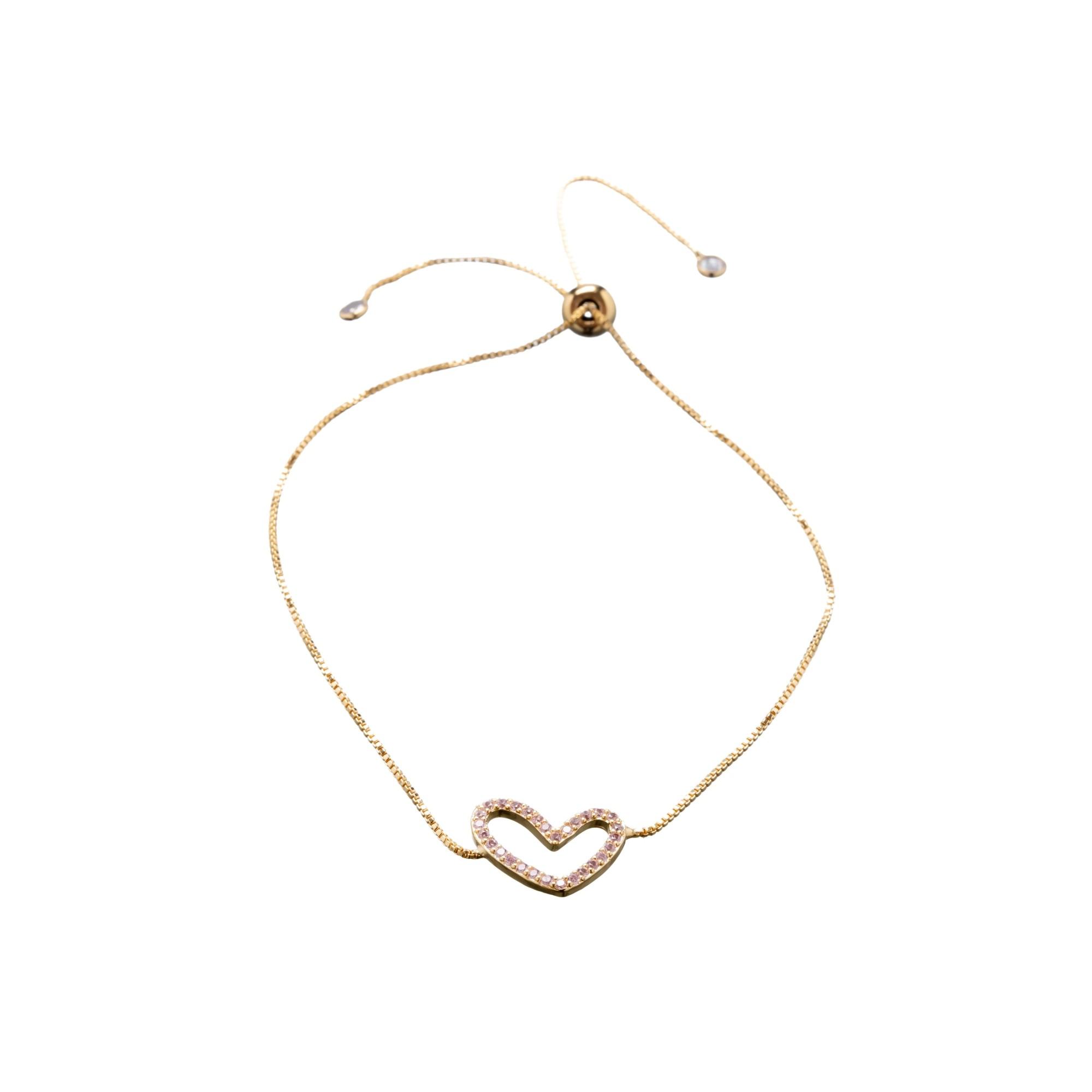 Pulseira Coração com Zircônias Rosa Fecho Gravatinha 14cm