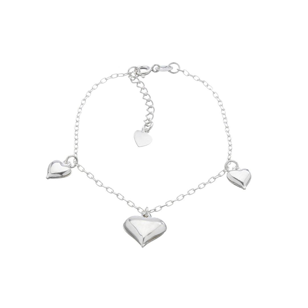 Pulseira Corações em Prata 925 16cm + Extensor