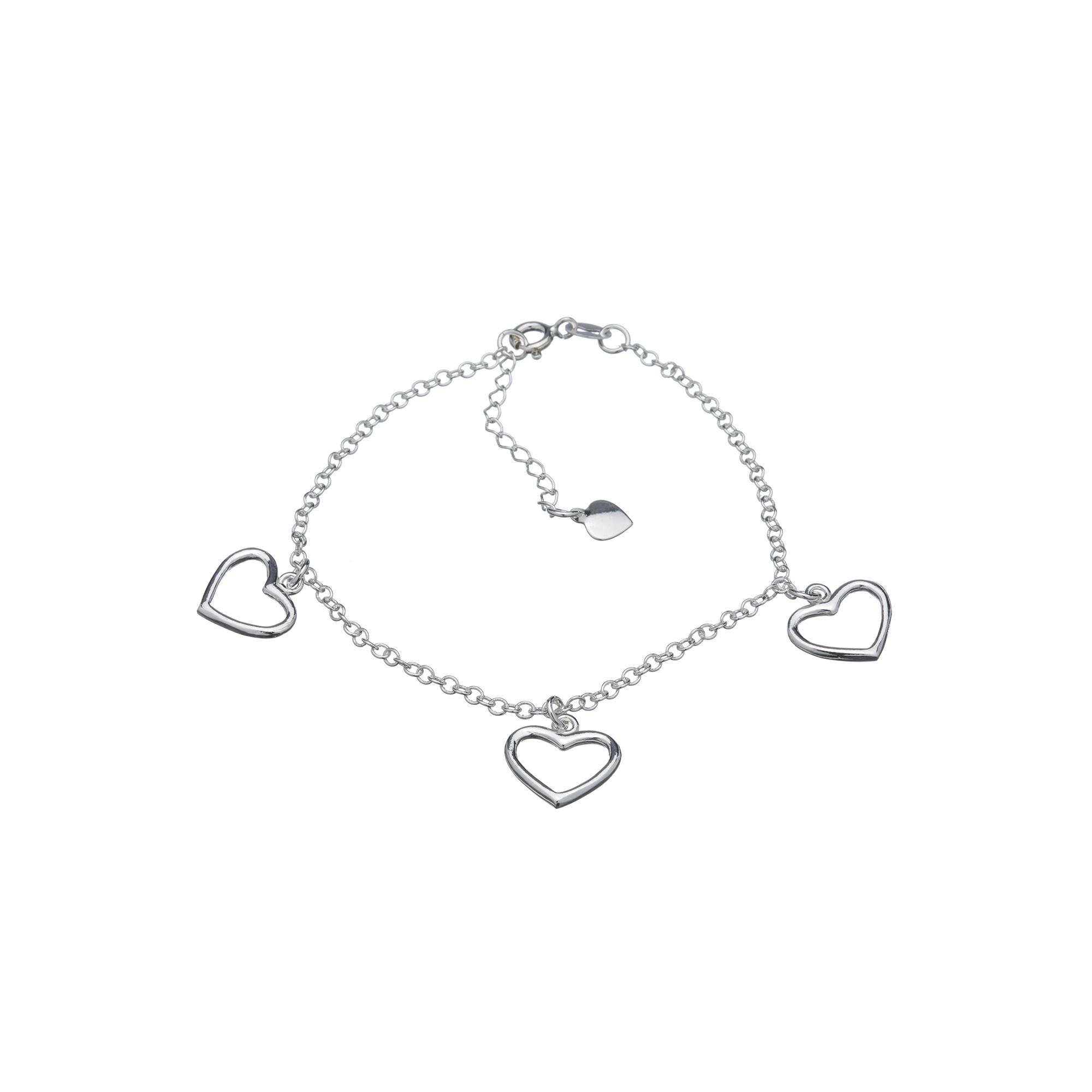Pulseira Corações Vazados em Prata 925 16cm + Extensor