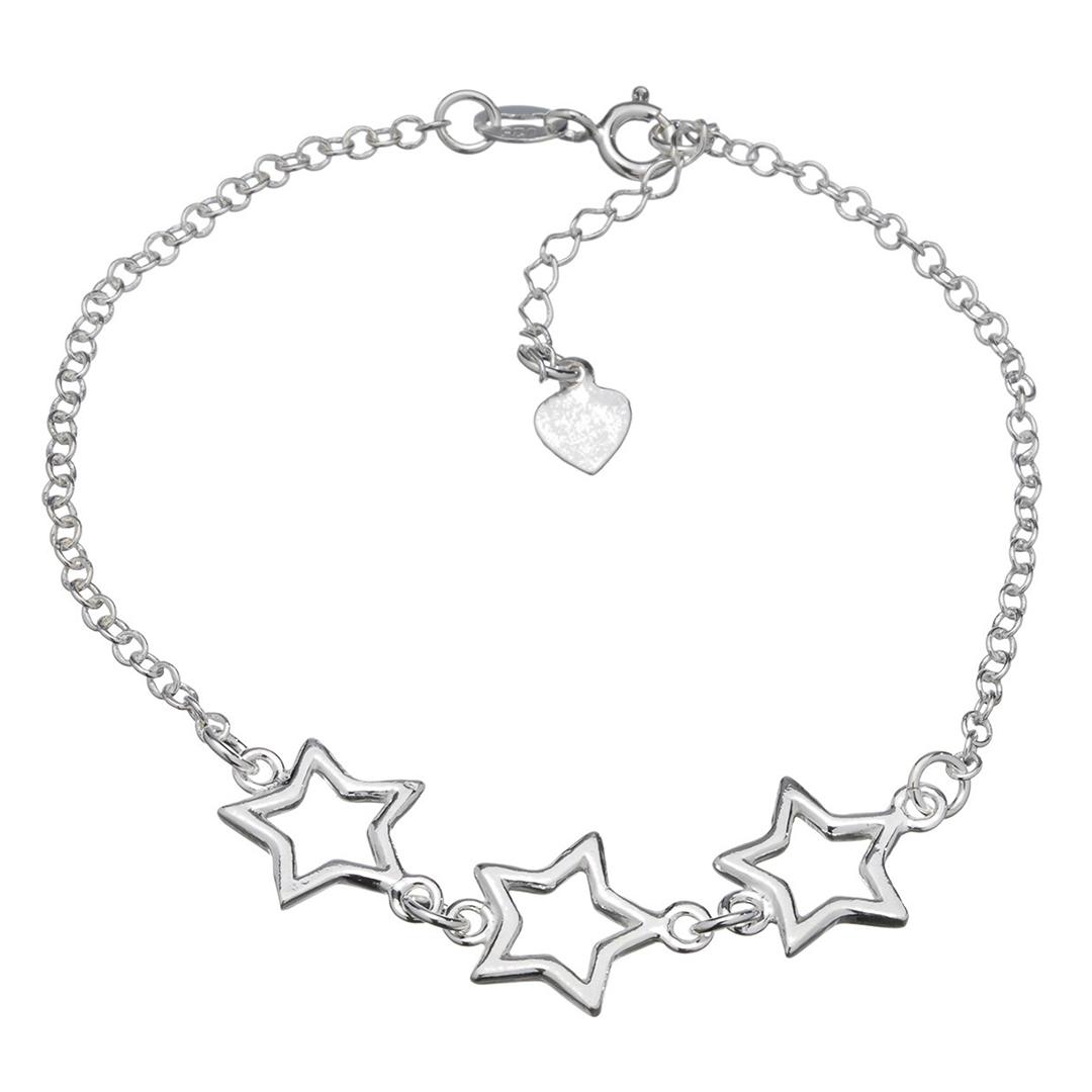 Pulseira Estrelas em Prata 925 16cm + Extensor