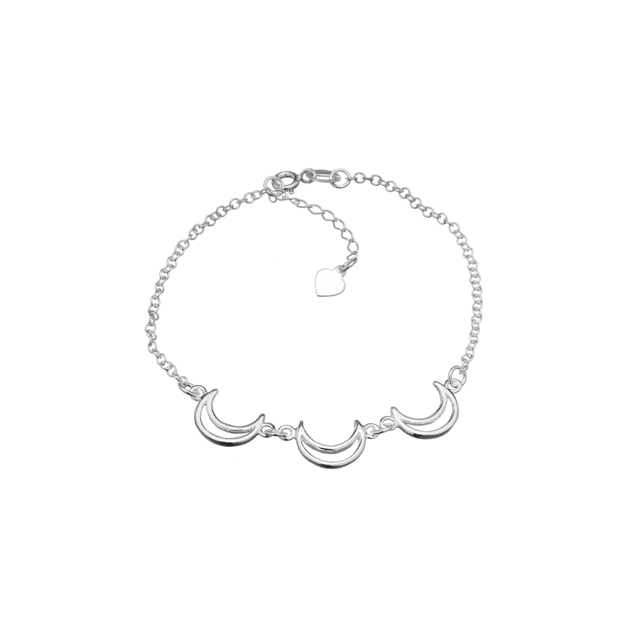 Pulseira Luas em Prata 925 16cm + Extensor
