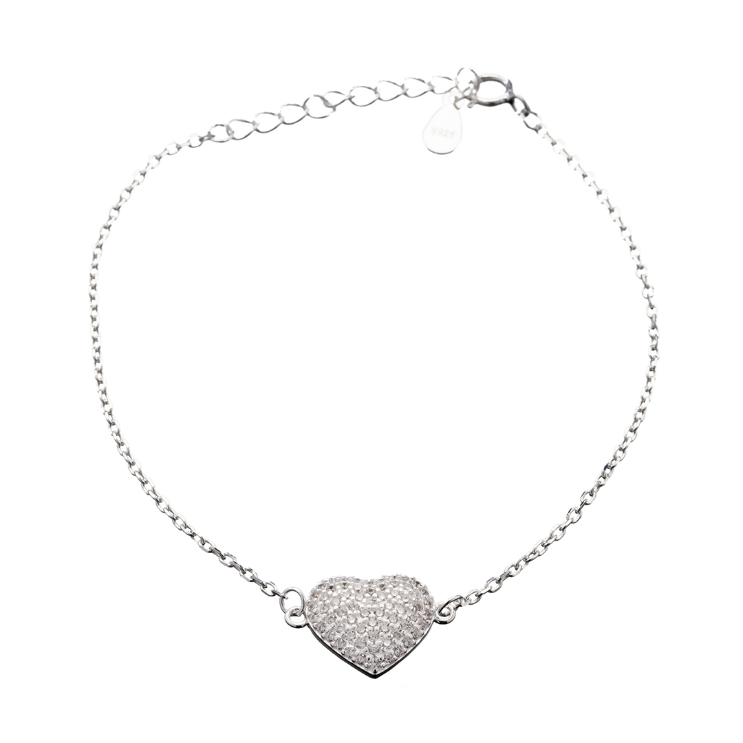 Pulseira Prata 925 Com Coração Central Cravejado Com Zircônias