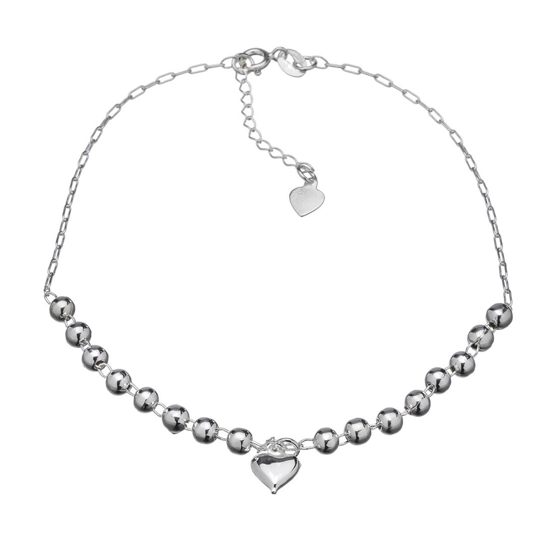 Tornozeleira Coração Em Prata 925 23cm + Extensor
