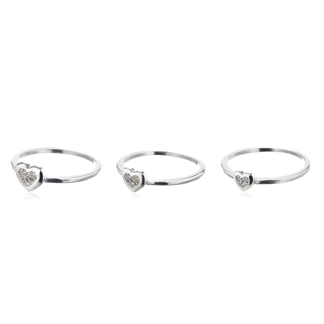 Trio de Anéis com Corações em Prata 925