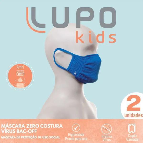 Kit 4 Mascaras Infantil Azul Lupo Original.