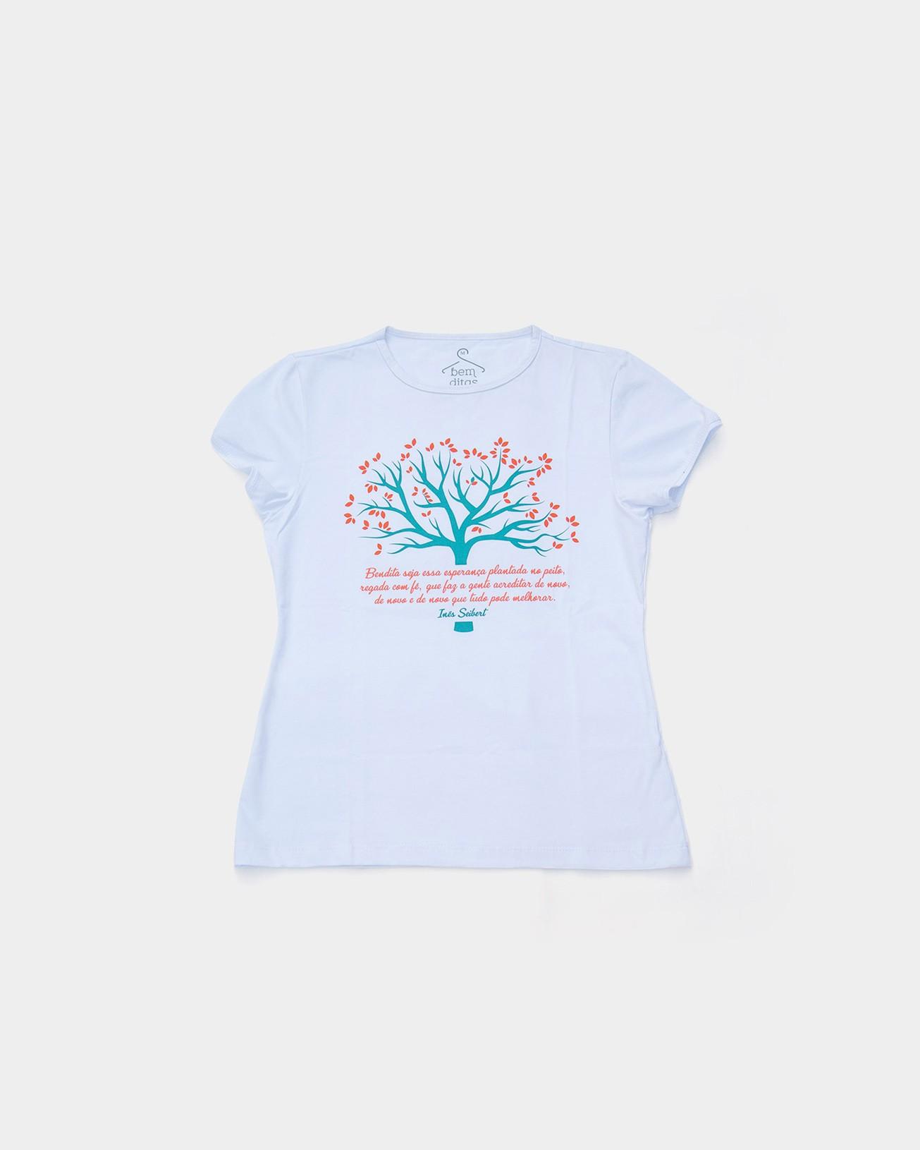 Camiseta Baby Look - Bendita Esperança (árvore) - decote canoa
