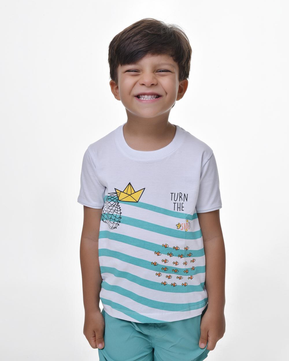 Camiseta Infantil - Pedro, Tiago e João no Barquinho (Algodão)