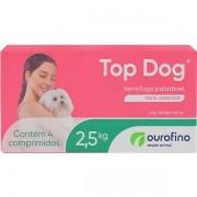 VERMÍFUGO TOP DOG OURO FINO CÃES DE 2,5KG CAIXA COM 04 COMPRIMIDOS
