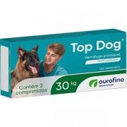 VERMÍFUGO TOP DOG OURO FINO CÃES DE 30KG CAIXA COM 02 COMPRIMIDOS