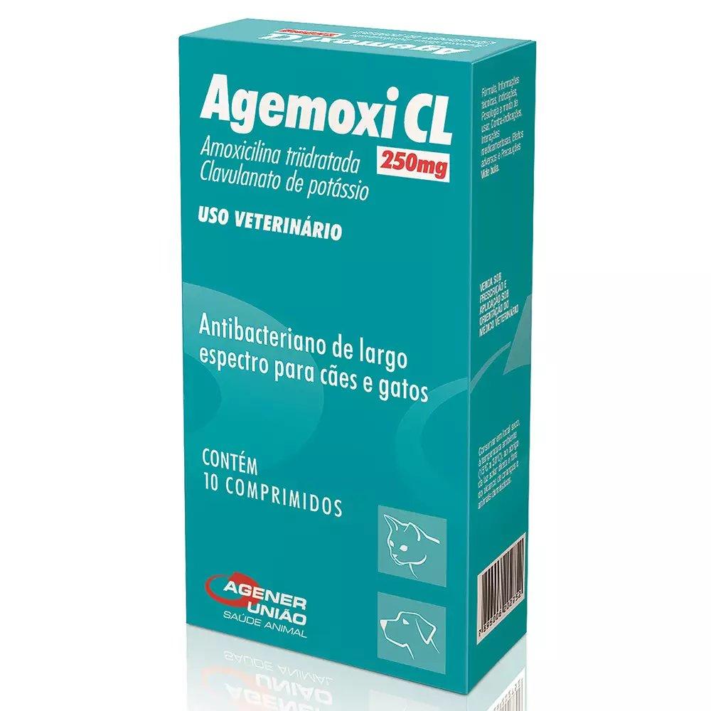ANTIBIÓTICO AGENER UNIÃO AGEMOXI CL 250MG CÃES CAIXA COM 10 COMPRIMIDOS