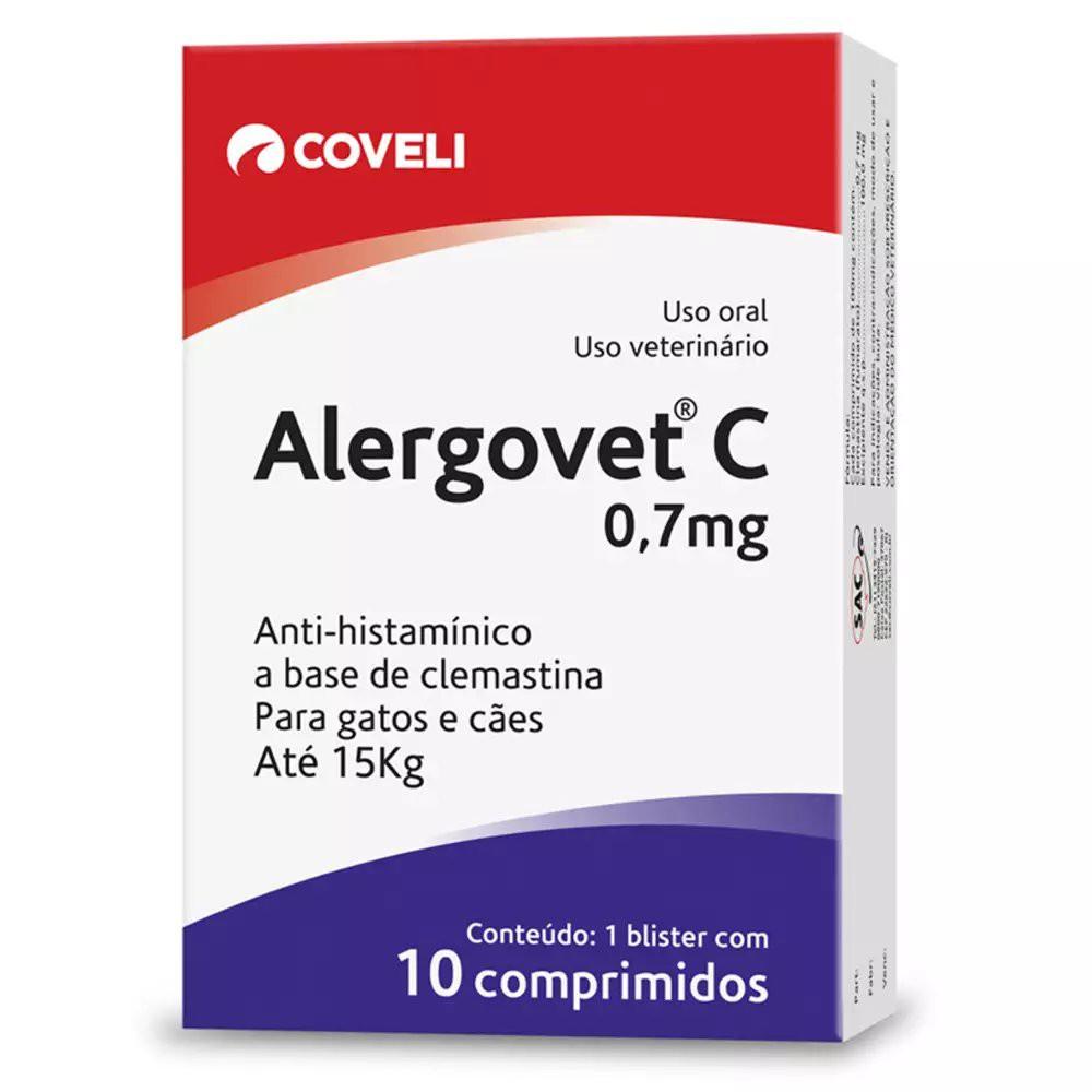 ANTI ALÉRGICO ALERGOVET 0,7 MG PARA CÃES E GATOS CAIXA COM 10 COMPRIMIDOS