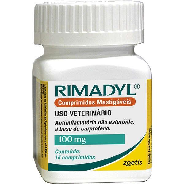 ANTIINFLAMTÓRIO RIMADYL 100 MG CAIXA COM 14 COMPRIMIDOS PALATÁVEIS