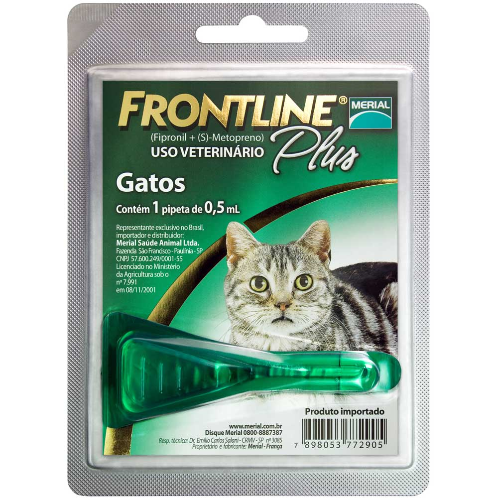 ANTIPLUGAS E CARRAPATOS FRONTLINE PLUS PARA GATOS