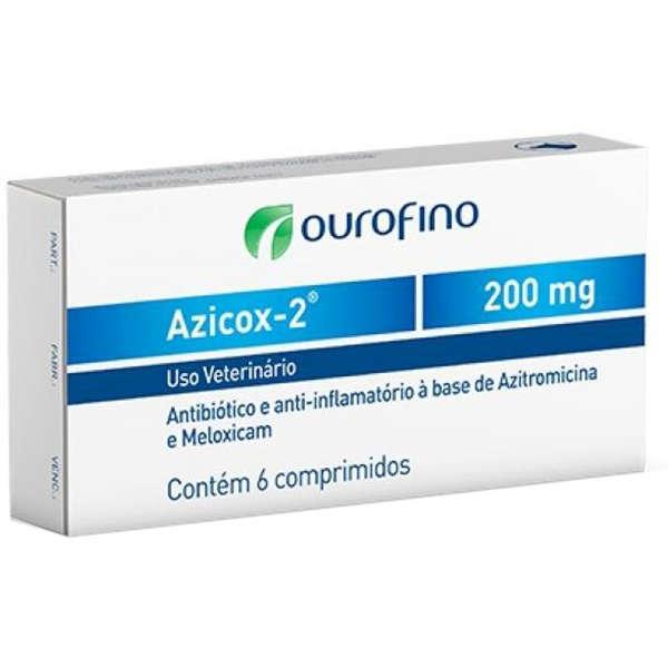 ANTIBIÓTICO PARA CÃES E GATOS AZICOX-2 200MG CAIXA COM 06 COMPRIMIDOS