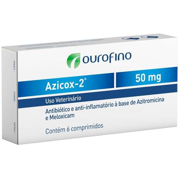 ANTIBIÓTICO PARA CÃES E GATOS AZICOX-2 50MG CAIXA COM 06 COMPRIMIDOS