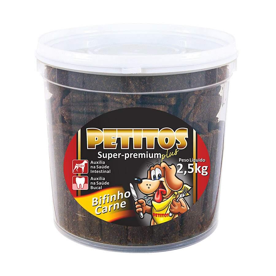 Bifinho De Carne 2,5kg Petitos Balde Super Premium Petisco