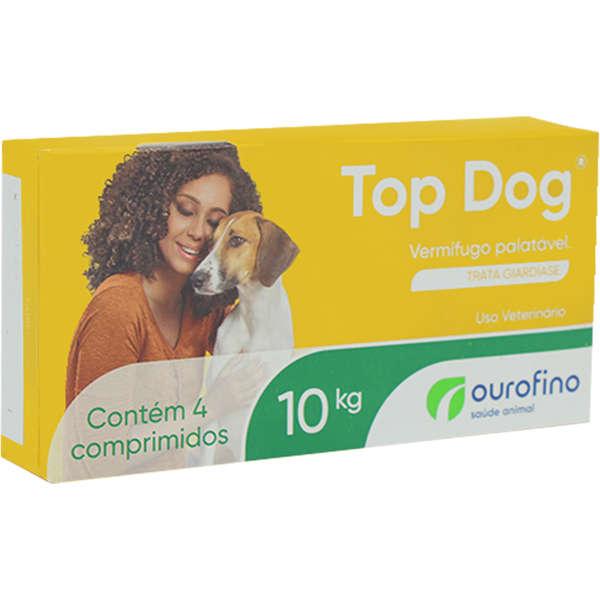 VERMÍFUGO DISPLAY TOP DOG OURO FINO 10KG CONTÉM 12 CAIXAS COM 04 COMPRIMIDOS CADA