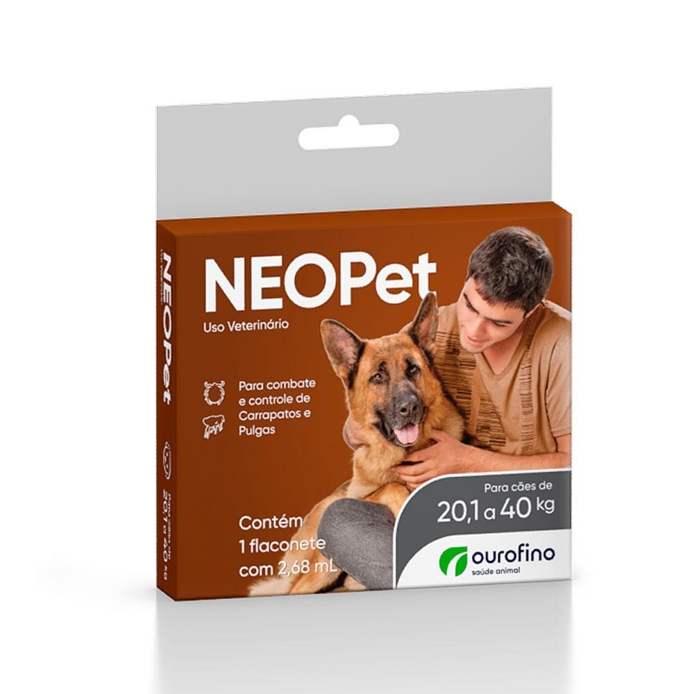 Kit 03 Antipulgas E Carrapatos Neopet Cães 20,1 A 40 Kg Ouro Fino Caixa Com 01 Pipeta