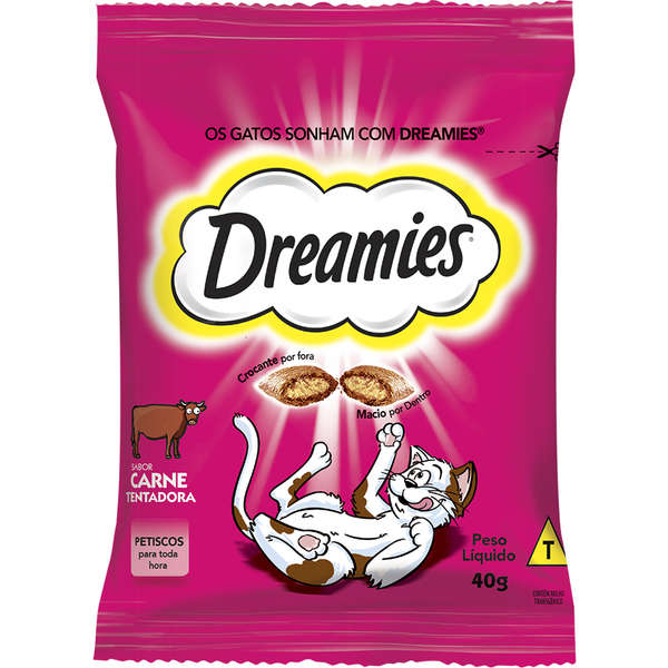 Kit com 2 Petisco Dreamies Carne para Gatos Adultos 40g