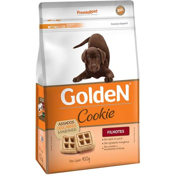 Kit com 5 Biscoito Premier Pet Golden Cookie Filhotes 400 GR