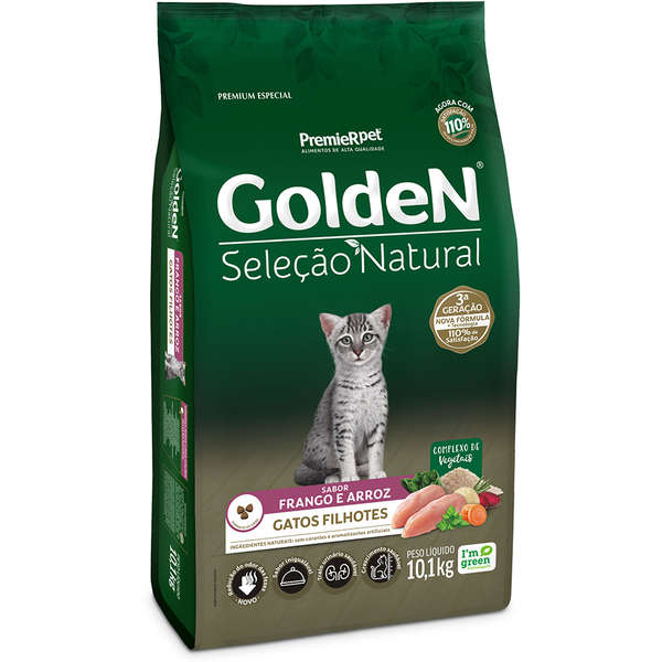 Ração Golden Seleção Natural Gatos Filhotes Frango e Arroz 10KG
