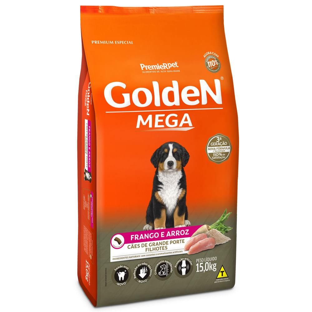 Ração Golden Mega para Cães Filhotes Raças Grandes Frango e Arroz 15KG