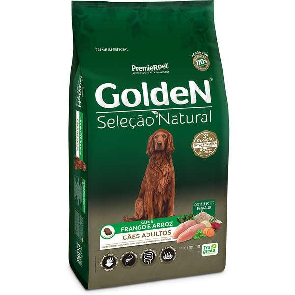 Ração Golden Seleção Natural Cães Adultos Frango e Arroz 12KG