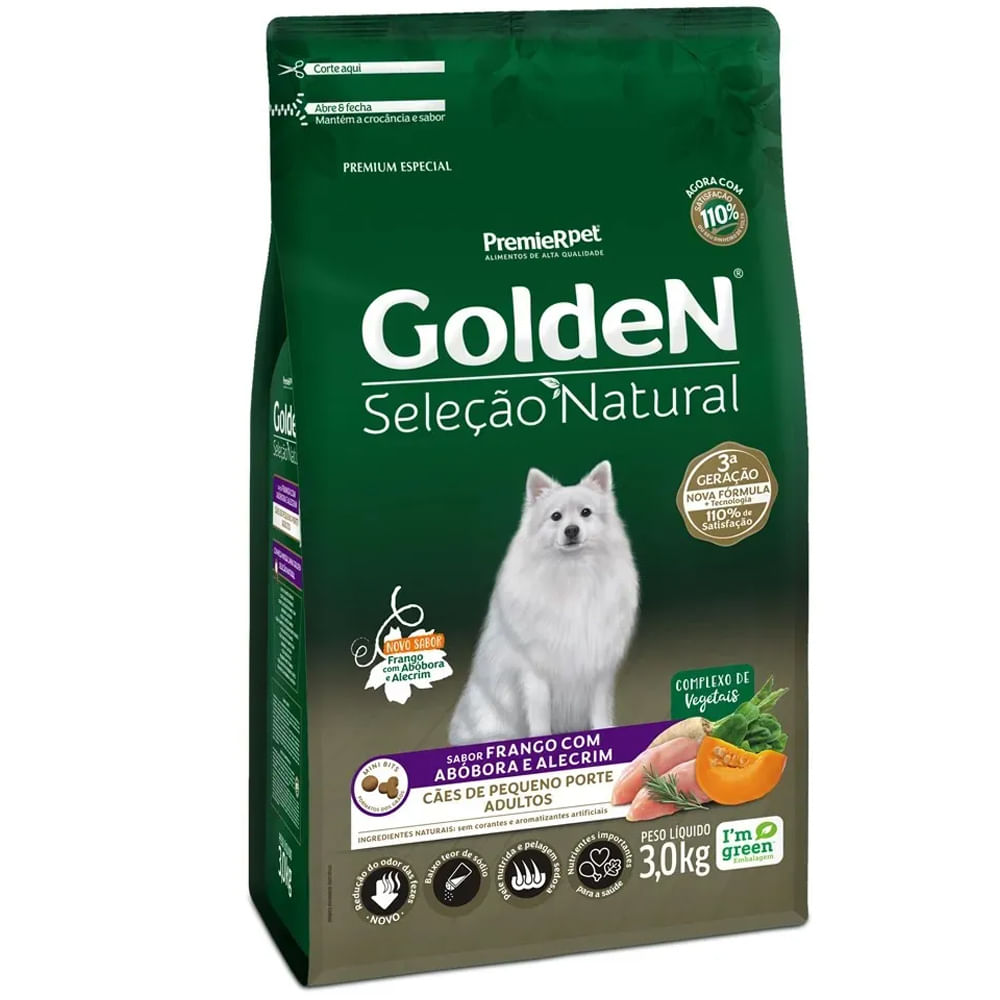 Ração Golden Seleção Natural Cães Adultos Raças Pequenas Abóbora 3KG