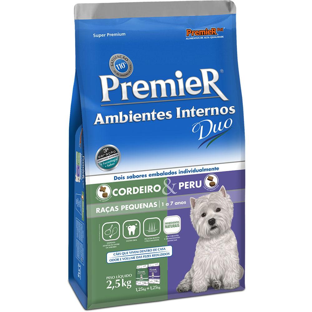 Ração Premier Ambientes Internos Duo Cordeiro e Peru Cães Adultos de Raças Pequenas 2,5KG