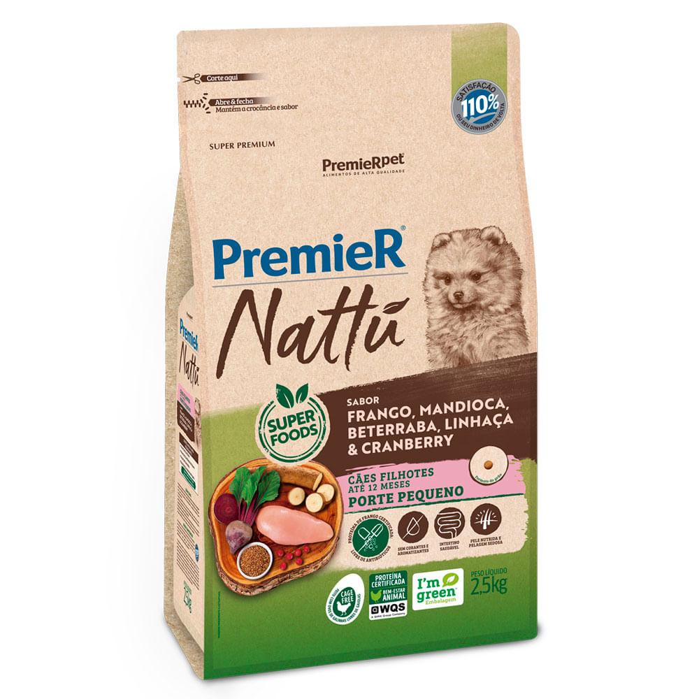 Ração Premier Natu Filhotes Mandioca 2,5KG + Biscoito 250GR