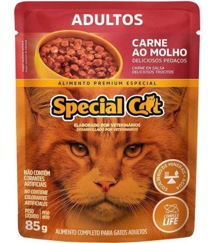 Ração Úmida Special Cat Sachê Carne para Gatos Adultos 85gr