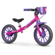 Bicicleta Balance Infantil Aro 12 Sem Pedal Nathor Rosa