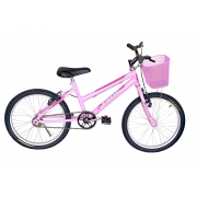 Bicicleta Infantil Aro 20 Calil Feminina C/ Cesto - Rosa