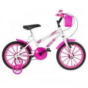 Bicicleta Infantil Feminina Ultra Kids Aro 16 - Branco / Rosa