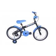 Bicicleta Infantil Passeio Aro 16 Personagem Masculino - Preto / Azul