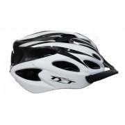 Capacete Mtb Tyt Pro Com Sinalizador Led - Branco C/ Preto
