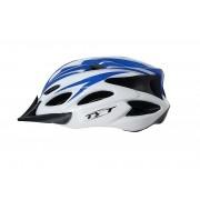 Capacete Bike Tyt MTB Pro C/ Sinalizador Led - Branco C/ Azul