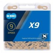 Corrente Bicicleta Kmc X9 Ti Gold 9v Compatível Shimano Sram